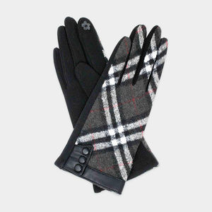 Plaid Accented Button Detail Smart Gloves